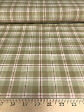 """Khaki/Sage/Red  Plaid/Check 100% Cotton Drapery/Upholstery Fabric 56"""" Wide BTY"""