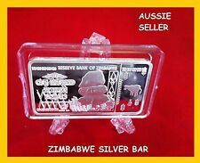 100 TRILLION SILVER BAR ZIMBABWE BANKNOTE DOLLAR OF REAL CURRENCY 2008+ capsu
