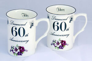Pair of 60th (Diamond) Wedding Anniversary Bone China Mugs