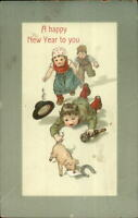 New Year - Kids - Drunk? Chase Pig c1910 Postcard