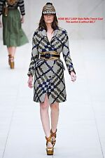 $4,495 RUNWAY Burberry Prorsum 6 40 Blue Collar Woven Raffia Trench Coat Women