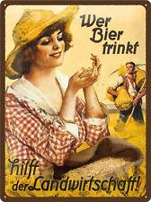 2 Panneaux Etain 30x40 cm Qui Boit De La Bière Aide A l'Agriculture + Bauer