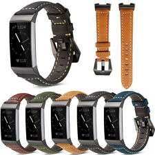 Retro Genuine Leather Replacement Wrist Watch Band Strap For Fitbit Charge 3 4