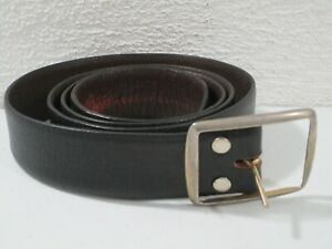Mens Black Distressed Leather Belt Size 42 Silver Tone Buckle