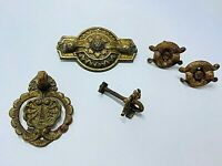 Victorian drawer handles ORNATE Mixed lot 5 Brass Antique Salvage single screw