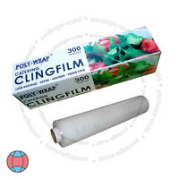 Cling Film With Cutter Roll Kitchen Catering Food Butcher Wrap 300mm x 300m