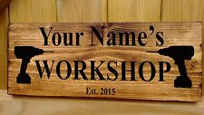 Personalised Name Shed Garage Workshop Studio Door Sign Plaque Wood Fun Gift