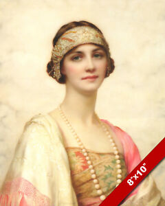 1920'S WOMAN ELEGANT BEAUTY GORGEOUS YOUNG GIRL REAL CANVAS ART PAINTING PRINT