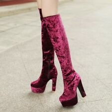 Lady Riding Knee High Gothic Boots Zipper 13.5cm Heel Platform Gladiator T Show