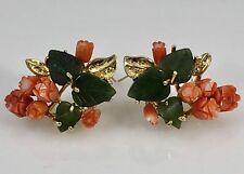 Vintage Natural Coral & Jade 14K Gold Post Stud Earrings, New