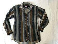 Scorpio 2000 Men's Blue Brown prints and buttons Club Dress Shirt Size M