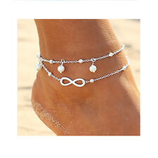 "Women's Fashion Jewelry Charm Heart Lucky ""8"" Rhinestone Pearl Bracelet Anklet"