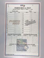 2009 World Baseball Classic Game Issued Phantom Lineup Card Puerto Rico Italy