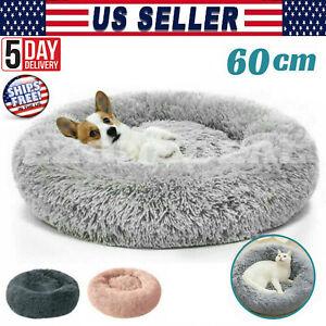 Pet Dog Cat Calming Bed Round Nest Warm Soft Plush Sleeping Bag Comfy Fluffy Mat