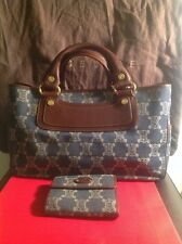 CELINE BOOGIE WOMANS BROWN LEATHER DENIM JACQUARD HANDBAG WITH MATCHING WALLET