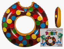 QUALITY LARGE CHOCOLATE DONUT SHAPED INFLATABLE SWIM RING POOL FLOAT LILO