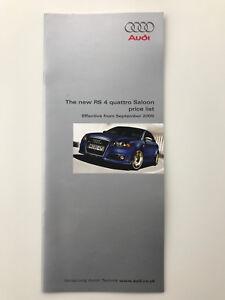 Audi RS4 Quattro Saloon Price List 2005