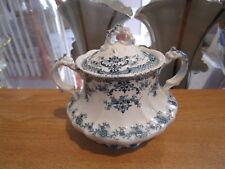 "Antique UPPER HANLEY ""Kings Border"" Sugar Bowl & Lid-Court, Blue Flowers&Scrolls"