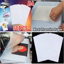 50PC T-Shirt A4 Transfer Paper Iron On Heat Press Light Fabrics Inkjet Printing.