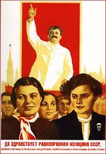 Russe 1938 la propagande soviétique Joseph STALINE RUSSIE Poster Print