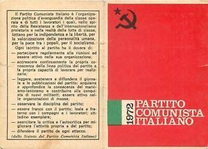 Tessera Partito comunista italiano (PC) - Milano, 1972