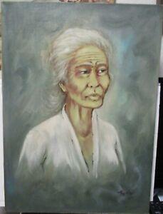 TRIVES VIETNAM ELDER WOMAN ORIGINAL OIL ON CANVAS PAINTING 1972
