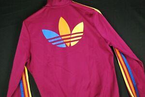 Adidas Rainbow Trefoil Three Stripe Track Jacket Womens XS 38 Full Zip Magenta