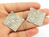 925 Sterling Silver - Vintage Flexible Multi-Strand Square Drop Earrings - E6183