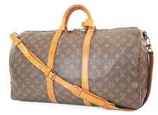 Authentic LOUIS VUITTON Keepall Bandouliere 50 Monogram Canvas Duffel Bag #37526