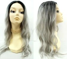 Pre-Trimmed Lace Front Gray w/ Dark Roots Long Wavy Wig Heat Resistant Safe 23""