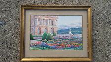 peinture aquarelle ancienne parc jardin fleuri vu château signature à identifier