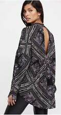 Free People $108 Black White Walking On A Dream Cut Out Oversize Tunic Top M New