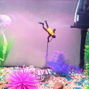 Treasure Chest Diver Action Aquarium Fish Tank Landscape Ornament Decor