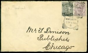 EDW1949SELL : NEW ZEALAND 1896 Mixed Franking cover to USA, with faults.