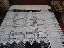 Vintage late XIX century Handcrafted Crochet White Bedspread Coverlet 42*82