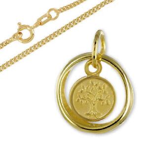 Taufring mit Lebensbaum,Gold 333(8 Karat) /Silberkette vergoldet-Made in Germany