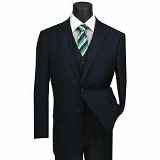 VINCI Men's Navy Blue Pinstripe 3 Piece 2 Button Classic Fit Suit NEW