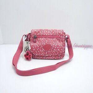 NWT Kipling AC8282 Sabian Crossbody Mini Shoulder Nylon Bag Dainty Daisies Pink