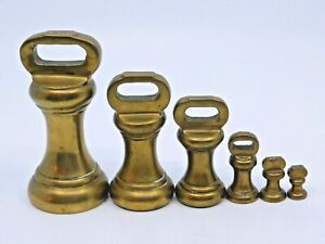 Vintage Brass Bell Weights / Set Of Six