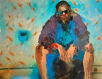 Original - Dude on the Toilet Big Lebowski Palette Knife Abstract Art Painting