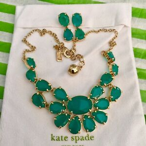 STUNNING Kate Spade New York PLAZA ATHENEE EMERALD GREEN NECKLACE & EARRINGS SET