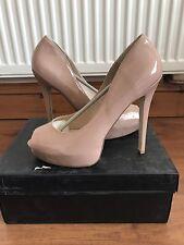Just Fab Nude Patent Peep Toe Shoe Size 9