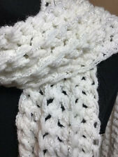 HandMade Crocheted Texture Scarf 5x65 Winter White Sparkle ~Gorgeous Soft Warm