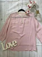 0039 Italy Size L 14 16 pink pure silk floaty shirt blouse VGC long sleeves