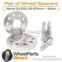 Wheel Spacers (2) & Bolts 15mm for VW Polo [Mk6] 18-20 On Aftermarket Wheels