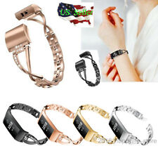 Replacement Fr Fitbit charge 3 4 Wristband Watch Bracelet Bling Metal Wrist Band