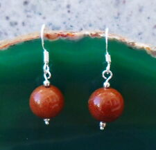 Earrings Ball Goldstone Stone Brown Glitter Hooks of the 925 Sterling Silver