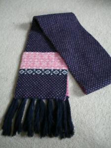 Crew Clothing Wool/Angora Mix Long Scarf Reversible Pink/Navy Fairisle