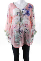 Aratta Silent Journey Womens Sheer Floral Long Sleeve Blouse Top Pink Size M