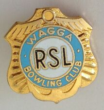 Wagga RSL Bowling Club Badge Pin Vintage Lawn Bowls (L31)